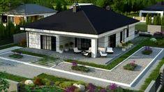 to wyjątkowy dom z kategorii projekty domów do 130 Modern Bungalow Exterior, Modern Bungalow House, Bungalow House Plans, House Plans Mansion, New House Plans, Modern House Plans, Home Building Design, Home Design Floor Plans, Village House Design