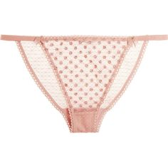 Stella McCartney Ava Dancing embroidered tulle and lace briefs ($80) ❤ liked on Polyvore featuring intimates, panties, underwear, lingerie, pink, stella mccartney lingerie, stella mccartney, vintage inspired lingerie, lacy lingerie and pink lace lingerie