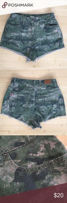 Camo High Waisted Shorts High waisted camo shorts that I've only worn once. They're super comfortable and flattering BDG Shorts Jean Shorts