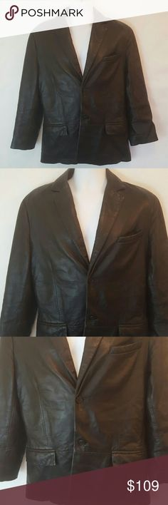 Men's Cole Haan genuine 100% leather blazer Med. Men's Cole Haan genuine 100% leather blazer size medium.  Measurements: Armpit to armpit 22 inches across. Top to bottom 30 inches. Arms, shoulder to cuff 24 inches. Cole Haan Suits & Blazers Sport Coats & Blazers