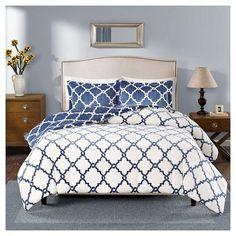 Alston Reversible Plush Comforter Set (Full/Queen) Indigo (Blue) - 3pc #Comfortersets