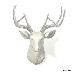 Silver Glitter Antlers with White Stag Deer Head;made by White Faux Taxidermy