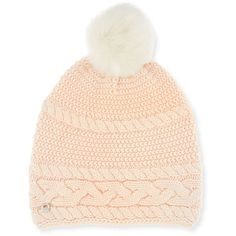 UGG Cable-Knit Beanie w/ Pompom ($69) ❤ liked on Polyvore featuring accessories, hats, pearl, logo hats, pom pom beanie, fitted hats, cable knit beanie and oversized beanie