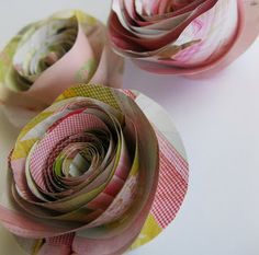 Frugal Life Project: Cute Rolled Paper Flowers Made from Magazine Pages!