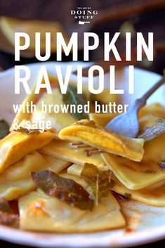 Don't let the name fool you, you can use squash to make this. Creamy, rich pumpkin ravioli with a browned butter sauce. This recipe takes about 2 hours from start to finish, BUT you can make a ton of them and freeze them. When you have a craving, just pull them out of the freezer and pop them in boiling water. How To Make Ravioli, A Food, Food And Drink, Pumpkin Ravioli, Pumpkin Squash, Ravioli Recipe, Save On Foods, Fresh Pasta, Homemade Pasta