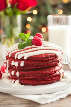 Red Velvet Pancakes with Cream Cheese Glaze recipe - delicious Christmas brunch or holiday dessert recipe.