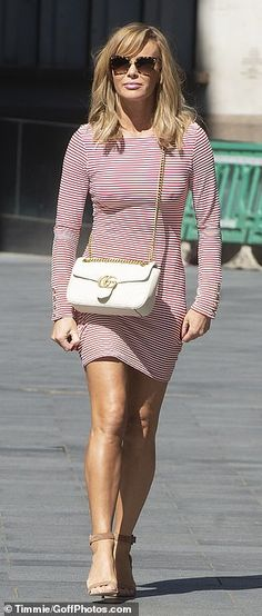 Tanned: Making the most of the London sunshine, Amanda flaunted her tanned and toned legs in the thigh-skimming number Britain's Got Talent, Alesha Dixon, Beautiful Celebrities, Beautiful Women, Amanda Holden, Tv Presenters, Sexy Older Women, British Actresses, Hot Outfits