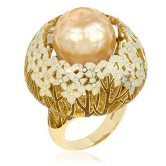 Ilgiz F for Annoushka Hortensia pearl cocktail ring - A dramatic yellow gold and pearl cocktail ring from the extraordinary collection of jewels by Russian jewellery designer Ilgiz Fazulzyanov, exclusively available at luxury jeweller Annoushka in the UK.