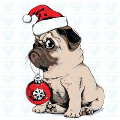 Find Adorable Beige Puppy Pug Santas Cap stock images in HD and millions of other royalty-free stock photos, illustrations and vectors in the Shutterstock collection. Thousands of new, high-quality pictures added every day. Pug Christmas, Christmas Drawing, Christmas Animals, Amor Pug, Black Pug Puppies, Pug Shirt, Cute Pugs, Pug Love, Dog Art
