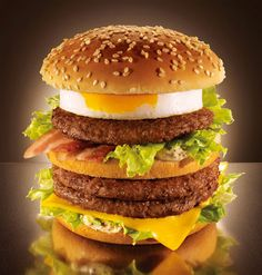 """From the Japanese word for egg - """"tamago"""" - comes this heavenly delight: a double Big Mac with an """"egg patty"""" and bacon. Hello cholesterol!"""