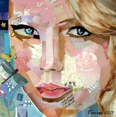 """""""Taylor Swift"""" Painting by Venus. 12 x 12 Acrylic and Collage on Canvas. https://www.etsy.com/shop/PaintingsbyVenus?ref=l2-shopheader-name #art"""