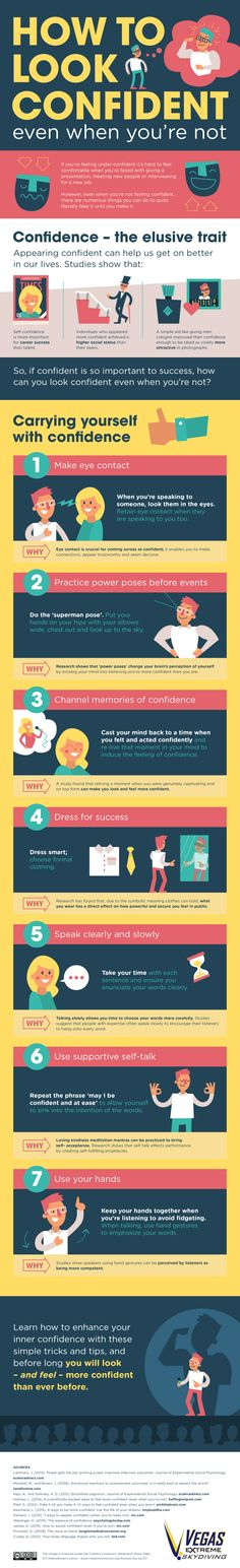How To Look Confident Even When You're Not - #infographic