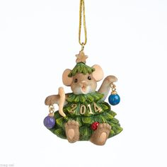Charming Tails ~ Datedl ~ Mouse Christmas Ornament  2014 Free Ship w/$20