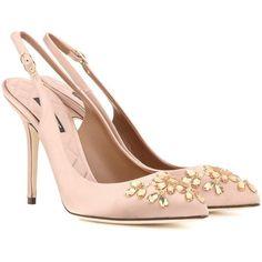 Dolce & Gabbana Bellucci Embellished Satin Slingback Pumps (76.345 RUB) via Polyvore featuring shoes, pumps, heels, pink, sling back shoes, dolce gabbana pumps, slingback shoes, dolce gabbana shoes and pink satin pumps