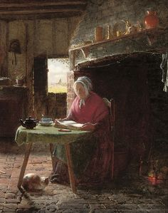 Frederick Daniel Hardy (1826-1911) - Reading by the Fire