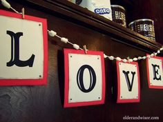 valentine love garland: printed letters and clothespins