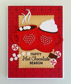 Card christmas cup mug cocoa hot drink candy sweets MFT Hot cocoa Cups Die-namics Happy Hot chocolate Season Hug in a Mug MFT mini scalloped rectangle - Panduro paper pad - JKE Holiday Cards, Christmas Cards, Christmas Cup, Christmas 2019, Chocolate Card, Hot Chocolate, Cute Cards, Diy Cards, Cricut Cards