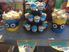 Despicable Me Cake Pops and Cupcake set up