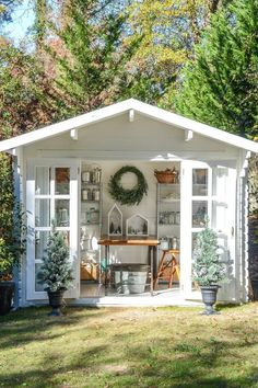 Total White Out - The Most Charming Garden Sheds on Pinterest - Southernliving. This petite shed calls on white-washed wood and rustic elements a la Chip and Joanna Gaines. Look how tidy those baker's racks keep precious garden supplies. See the Pin
