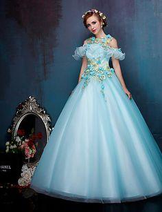 Princesse Robe de Mariage Colorées Longueur Sol Bretelles Dentelle / Organza…