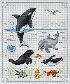 marine animals killer whale orca dolphin jellyfish seal sea lion fish penguin seahorse turtle cross stitch