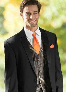 New Xl Mossy Oak Tuxedo Vest Orange Tie Hankie Alpine Break Up Camo Formal