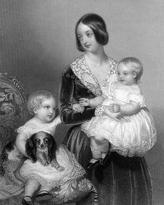 Queen Victoria with her 2 eldest children - Vicky & Bertie and a spaniel