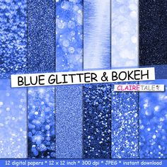 "Blue digital paper: ""BLUE GLITTER & BOKEH"" with blue glitter background and blue bokeh background for photographers and scrapbooking by clairetale. Explore more products on http://clairetale.etsy.com"