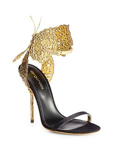 Sergio Rossi - Filigree Butterfly Laser-Cut Leather & Satin Sandals - Saks.com