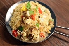 Achari Paneer Rice - Paneer tastes great with anything & everything. Here's a full-proof recipe for you to believe it. Paneer Recipes, Indian Food Recipes, Vegetarian Recipes, Cooking Recipes, Ethnic Recipes, Achari Paneer, Paneer Biryani, Sanjeev Kapoor, Desi Food