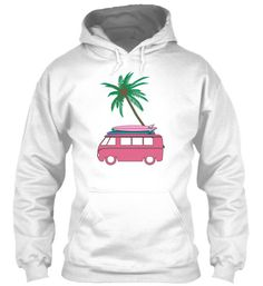 """This Vintage Pink VW Bus Women's Surf hoodie is an exclusive design only found in our shops and is printed on quality 8oz. Gildan cotton. Inches LENGTH SLEEVE WIDTH S 26"""" 33"""" 20"""" M 27"""" 34"""" 22"""" L 28"""" 3"""