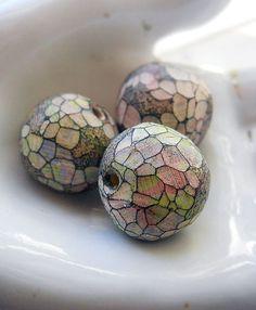 Handmade Polymer Clay Beads  Set of Three Beads  by shipwreckdandy, $6.50