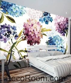 A beautiful dream of fresh and in full bloom color hydrangea oil painting effect wall art wall decor mural wallpaper wall Wall Decor Design, Wall Art Decor, Ceiling Painting, Floral Bedroom, Boho Room, Beautiful Dream, Chalkboard Art, Wall Wallpaper, Creative Inspiration
