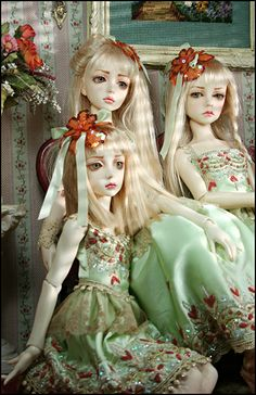 Not only are the dolls beautiful, but check out the beautifully embroidered clothing
