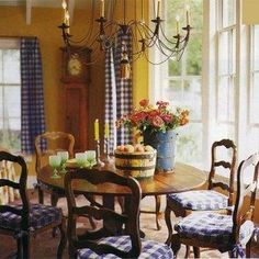 French Country Dining Room Ideas With Mustard And Gold And Yellow Walls And Blue Checked Curtains And Chair Cushions , French Country Dining Room Decorating Ideas In Dining Room Category French Country Interiors, French Country Dining Room, French Country Kitchens, French Country Bedrooms, French Country Farmhouse, French Country Style, French Cottage, Country Living, Farmhouse Decor