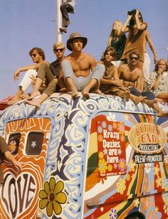hippie bus from 70s traveling with friends