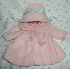 "15"" Factory Effanbee Dy-Dee Jane Pink Eiderdown Coat / Bonnet Set from dollyologyvintagedolls on Ruby Lane"