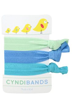 CyndiBands spring chicks Easter gift pack of 3 hair ties in Inez