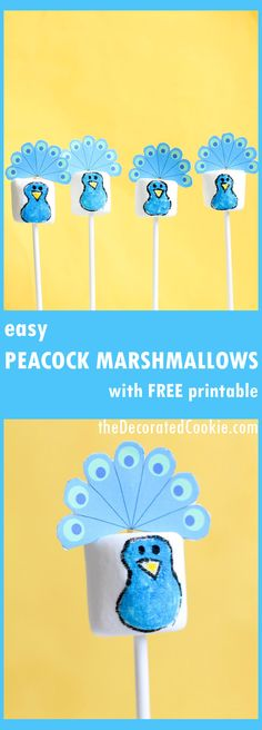 peacock marshmallows with free printable, so cute and easy to make!