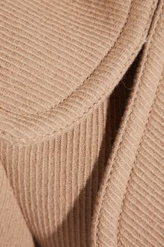 Camel wool-blend twill Button fastenings through double-breasted front 90% wool, 10% polyamide Dry clean Made in France