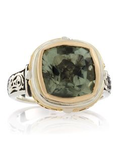 Cushion-Cut Green Amethyst Ring, by Konstantino at Last Call by Neiman Marcus.