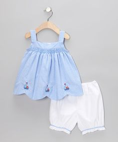 Take a look at this Blue Gingham Sailboat Swing Tunic & Bloomers - Infant & Toddler by Fantaisie Kids on #zulily today!