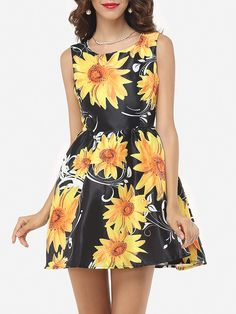 Floral Hollow Out Printed Round Neck Skater Dress