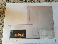 My sketch of TV and fireplace unit