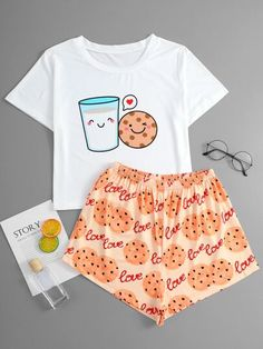 Cute Pajama Sets, Cute Pjs, Cute Pajamas, Girls Fashion Clothes, Teen Fashion Outfits, Outfits For Teens, Cute Lazy Outfits, Pretty Outfits, Cute Sleepwear