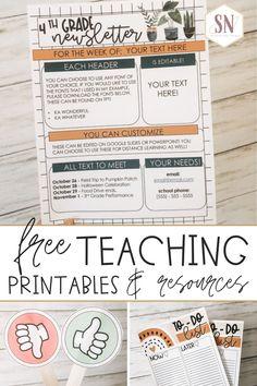 Teacher Freebies, Classroom Freebies, Classroom Decor, Middle School Classroom, First Grade Classroom, Future Classroom, Freebies Printable, Preschool Newsletter Templates, Elementary Teaching