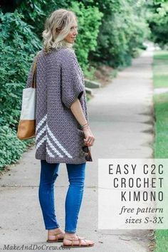 FREE CROCHET PATTERN: Crochet Pattern and Tutorial; Learn how to make this easy pocketed crochet kimono pattern (with plus sizes!) made from three simple rectangles! Go check it out! Pull Crochet, C2c Crochet, Crochet Shawl, Free Crochet, Learn Crochet, Simple Crochet, Crochet Tops, Kimono Pattern, Crochet Cardigan Pattern