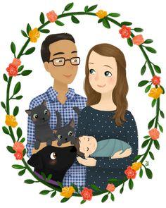 Custom Family Portrait Illustration by emkimothy on Etsy