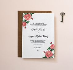 Modern Wedding Invitations (by Crafty Pie Press via EmmalineBride.com) - vintage botanical