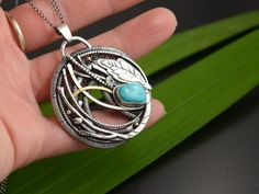 Silver forest jewelry with turquoise cabochon Wire Wrapped Jewelry, Wire Jewelry, Sleeping Beauty Turquoise, Gifts For Wife, Turquoise Jewelry, Artisan Jewelry, Sterling Silver Necklaces, Wire Wrapping, Pendants